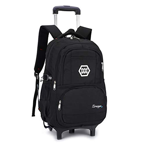 Kids Backpack Trolley Bag,Trolley School Backpack - Rolling School Pouch-black-2wheel