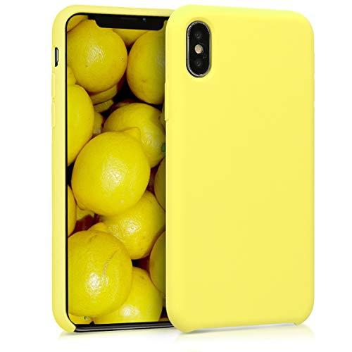 kwmobile Hülle kompatibel mit Apple iPhone X - Handyhülle gummiert - Handy Hülle in Pastellgelb