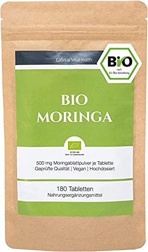 EXVital BIO Moringa Tabletten - 3000 mg Moringa Oleifera pro Tagesdosis - 180 Bio Moringa Presslinge...