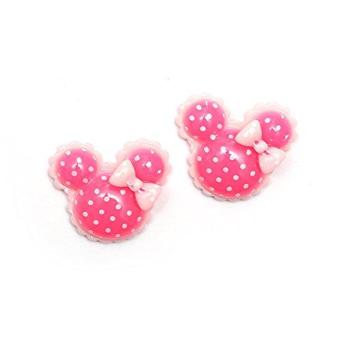 Idin orecchini a clip–rosa pois Minnie Mouse Shape orecchini a clip (ca. 19x 17mm)