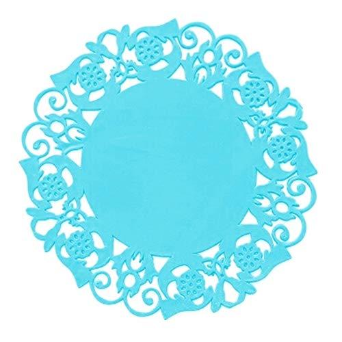 LZFLZ 2 Teile/Los Spitze Blume Hohl Deckchen Silikon Coaster Couchtisch Tasse Matten Pad Tischset Küche Zubehör Kochen Werkzeuge (Color : Blue)