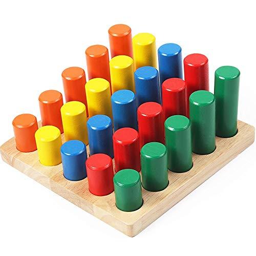 Yifuty Frühe Bildung Vier Sätze von Spalte Spielzeug, Bausteine 3-8 Jahre alt Puzzle-Spiel, Early Education Junge und Mädchen-Geschenke, Entry-Level-Anfänger, Geometrische Farbe Form Recognition
