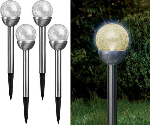 Bonetti - Solarlampen für Außen aus Edelstahl mit Glaskugel in Bruchglas-Optik, warm-weiße LED, kabellos und wetterfest, dekorative Solarleuchte für den Garten, Terrasse und Balkon (4)