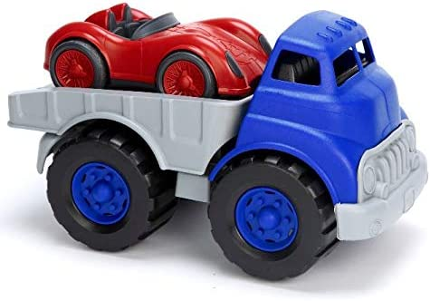 Green Toys Flatbed & Race Car, Blue/Red FFP - Pretend Play, Motor Skills, Kids Toy Vehicles. No BPA, phthalates, PVC. Dishwasher Safe, Recycled Plastic, Made in USA.