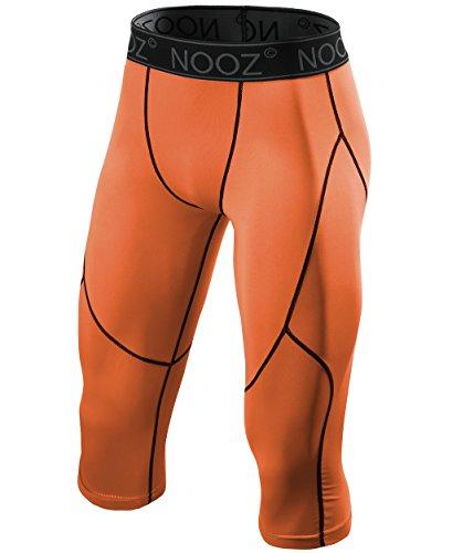 Nooz Herren Kompressionshose 3/4 Caprihose Baselayer Legging Tights mit Cool Dry Tech - Orange - Groß