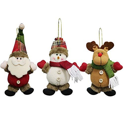 DFVVR 3 piezas adorno de Navidad Santa muñeco de nieve juguete muñeca colgante decoración fiesta