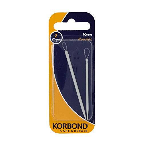 Korbond - Juego de 2 agujas de hilo y lana, 2 tamaños, punto romo, grande, flexible, ojo monofilamento – accesorios esenciales para tejer, gris, 2 piezas