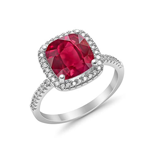 Blue Apple Co. Halo Wedding Engagement Ring Solitaire Accent Cushion Round Simulated Ruby 925 Sterling Silver, Size-5