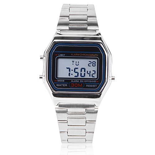 Reloj de pulsera para hombre, digital, luz trasera LED, electrónico, correa de acero inoxidable, rectangular, reloj de pulsera (plateado)