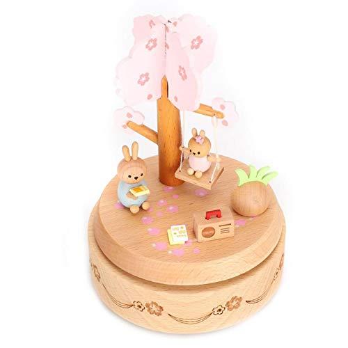 Agatige Caja de música de Madera, Caja de música Hecha a Mano con Columpio de Conejo para Regalo de cumpleaños, decoración de la Oficina en casa