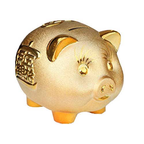 ZAKRLYB Cerámico Piggy Bank Cerámica Cerámica Piggy Bank Robado y Duradero, Anti-Caída y Resistente al frío, Adulto Práctico PRÁCTICO NIÑO CAPACIDO Y NIÑA DE NIÑA O Regalo DE CUMPLEAÑOS (Dorado)
