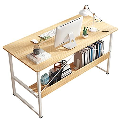 LJFYXZ Mesa de Ordenador con 1 estantes, Mesa de ordenador portátil para PC con estantería de metal y madera Estación de trabajo de oficina en casa, Fácil de montar 80/10(Size:120x45x74cm,Color:roble)