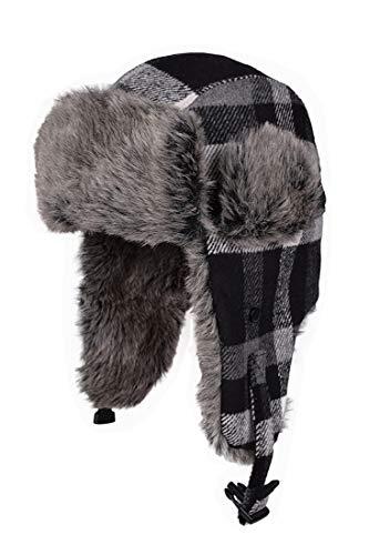 BigForest Mütze Solid Buffalo Plaid Aviator Trapper Hat Trooper Ear Flaps Ushanka Eskimo Bomber Russian Warm Winter Cold Skiing