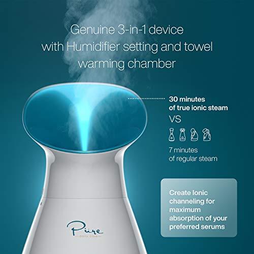 Ionic NanoSteamer - 3-in-1 Facial Steamer with Precise Temp Control - Atomizer - Mist - Humidiefier - Unclogs Pores - Blackheads - Spa Quality - NanoSteam