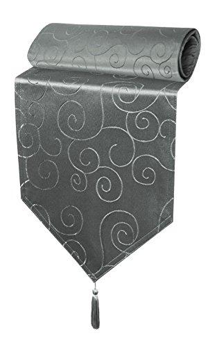 Haus und Deko Tischläufer Damast Circle Tischband modern Tischwäsche Mitteldecke Ornamente ca. 30x100 cm grau