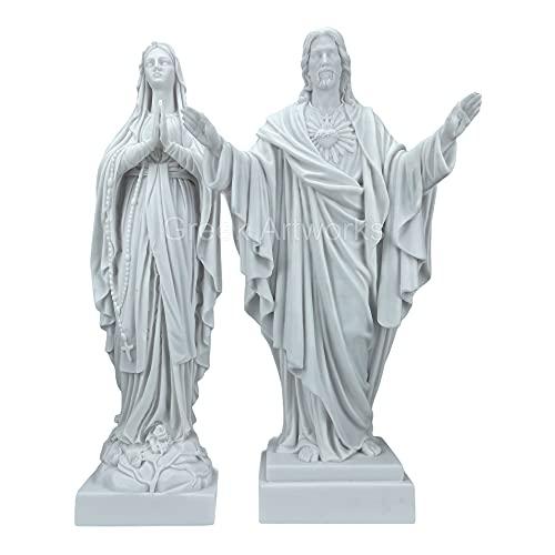 Estatua de mármol fundido con la Virgen María Griega y Jesucristo de la Virgen 15.7 pulgadas