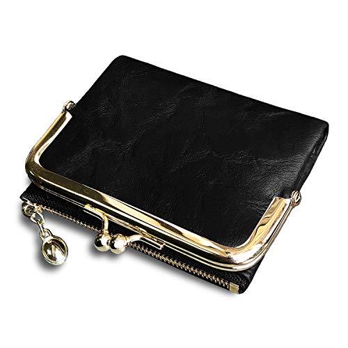 Pofee Damen-börse, RFID, klein, kompakt, doppelt gefaltet, Leder, Vintage, Münzbörse mit Reißverschluss und Kussschloss - Schwarz - Small
