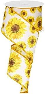 Sunflower Wired Edge Ribbon, 10 Yards (2.5