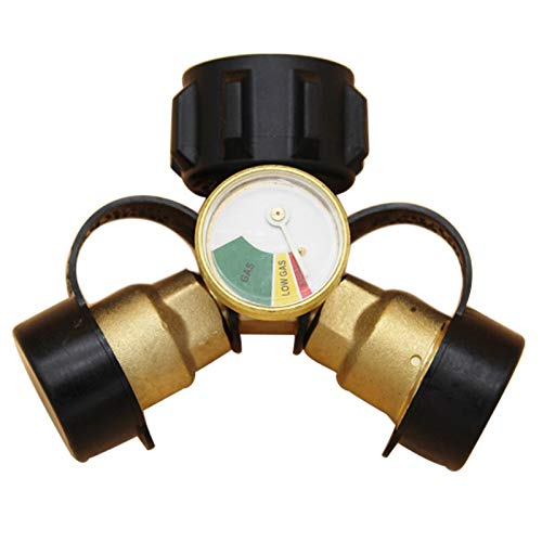MENSI LP Proane Tank Cylinder 2 Way Tee Y Splitter Adapter with Level Indicator Gauge for Two Grills, Heaters