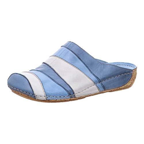Gemini 032091-02 Schuhe Damen Leder Pantoletten Clogs, Schuhgröße:42 EU, Farbe:Blau