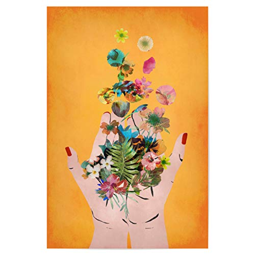 artboxONE Poster 30x20 cm Menschen Frida`s Hands (orange) - Bild Frida Blumen dekorativ