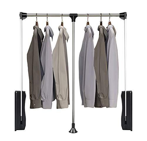 RHSMW Wardrobe Lift, Multifunktion Aufzug Kleiderstange, Faltbar Garderobe Kleiderbügel Mit Weiche Rückkehr, Einstellbare Breite, Belastbarkeit Über 10 Kg,Schwarz,830~1150mm