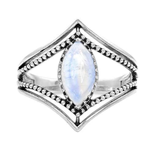 Rings, Retro Charm Women's Wedding Ring Engagement Luminous Stone Horse Eye Gem Ring, Jewelry for Women Gifts (Silver 8)