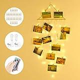 Anpro Luces LED Foto Clip de Cadena,Luz Cadena Foto de Estilo Bohemio,Luces Decorativas Habitacion, 58 Leds con Gancho y Control Remoto, Luz para Navidad,Fiesta,Cumpleaños
