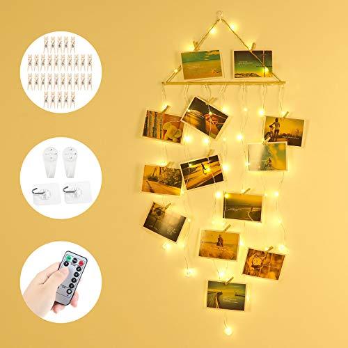 Anpro 58 LED Fotoclips Lichterkette Photoclips mit USB- und AA-Batterien betrieben, Haken- und Fernbedienungs-Timing-Funktion für Foto Bilder Karten
