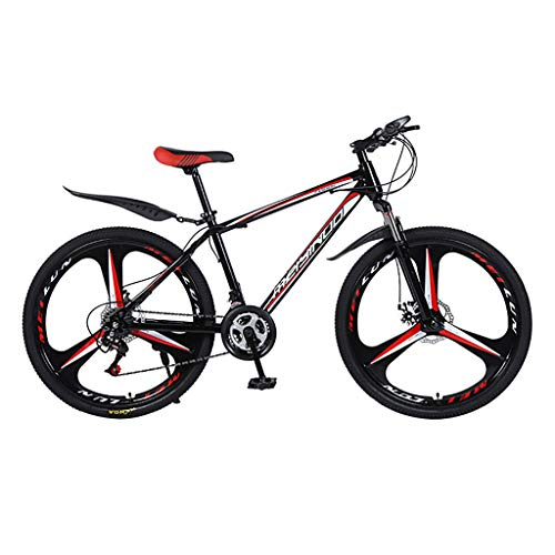 26 Inch Outroad Mountain Bike Mountain Bike with 21 Speed Dual Disc Brakes, Outdoor Racing Cycling (A)
