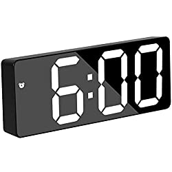 Smart Digital Alarm Clocks for Bedrooms, 6.7'' LED Screen, Snooze, Dimmable, Temperature, Date, 12/24Hr, Small Electronic Desk Clock for Kitchen Office (White)