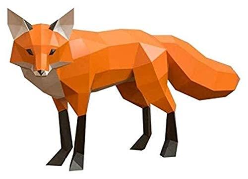 Escultura de escritorio Fox Sculpture 3D Origami Paper Modelo DIY Fox Paper Crafts Statue Animal Movered Hecho a mano Decoración creativa Colección de juguetes