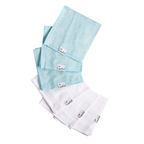 """6 Ultra Soft Baby Bath Washcloths Premium Large Soft""""Sonny"""" (Blue/White) 11"""" x 11"""" Towels by Copper Pearl"""