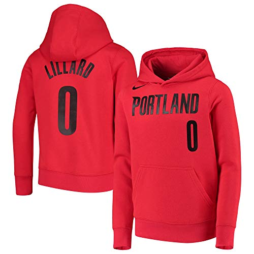 NBA Youth 8-20 Essential Player Name and Number Fleece Pullover Sweatshirt Hoodie (Small (8), Damian Lillard Portland Trail Blazers Red)