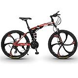 WPW Bicicleta de Montaña Premium - Bicicleta Plegable para Niños, Niñas, Hombres y Mujeres - Engranaje de 21 Velocidades, Ruedas de Corte de 26 Pulgadas y 6 (Color : 21-Speed Red, Talla : 26inches)