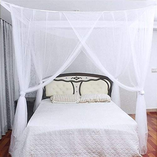 YZDKJ Mosquitera Net Canopy White Black Four Corner Post Student Canopy Bed Mosquito Net Reing King Tamaño (Color : B, Size : 1.8m (6 Feet) Bed)