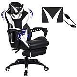 Massage Racing Gaming Stuhl Bürostuhl - Ergonomisches Sportsitz höhenverstellbarer Computerstuhl Chefsessel Schreibtischstuhl mit Kopfstützen, verstellbaren Armlehnen und Fußstützen (weiß)