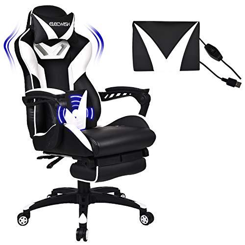 YU YUSING Massage Racing Gaming Stuhl Bürostuhl Ergonomisch Sportsitz höhenverstellbarer Computerstuhl Chefsessel Schreibtischstuhl mit Kopfstützen, verstellbaren Armlehnen und Fußstützen (Weiß)