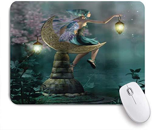 NANITHG Stoff Mousepad,Fantasy Little Pixie mit Laterne sitzenden Mondstein Märchen Mythos Kunstwerk,Rutschfest eeignet für Büro und Gaming Maus