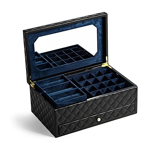 OMYLFQ Caja de Joyas de Viaje de Gran Capacidad PU Caja de Organizador de joyería de Cuero con 4 bandejas y Espejo Rhombus Textura contenedores artesanales para Gemelos, Anillos, Colgantes, Cadena