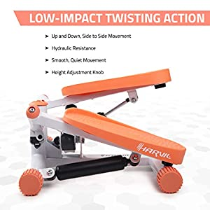 Harvil Mini Adjustable Twist Stepper with Hydraulic Resistance, Large Non-Slip Foot Plates and LCD Monitor, Peach
