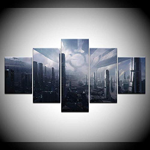 DGGDVP Ciudadela Mass Effect 5 Piezas Wallpapers Modern Modular Poster Art Canvas Painting for Living Room Home Decor Size 1 with Frame