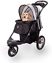 Pet Stroller for Dogs and Cats with Air-Filled Tires with Built-in Suspension, Black - Comfortable Dog Strollers with Paw Rest, Front Headrest - Sturdy Cat Stroller for Daily Walks, Jogging