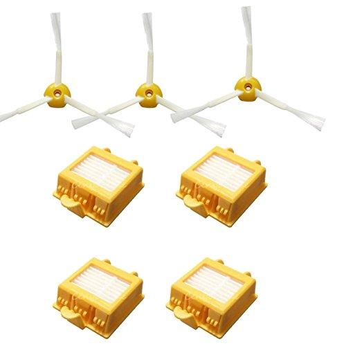 Techypro® 4 Hepa filter und 3 Kantenreinigungsbürste für iRobot roomba 700 770 780 Reinigungskit Wartungskit Bürsten Set