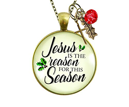 """Gutsy Goodness Christmas Necklace Jesus is Reason for The Season Holiday Inspired Gift Jewelry 24"""""""