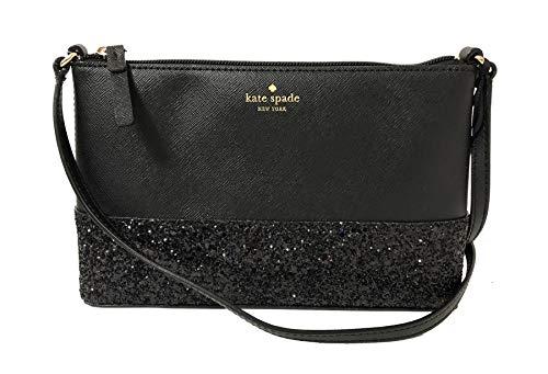 Kate Spade Ramey Greta Court Glitter Saffiano Leather Crossbody Bag Black