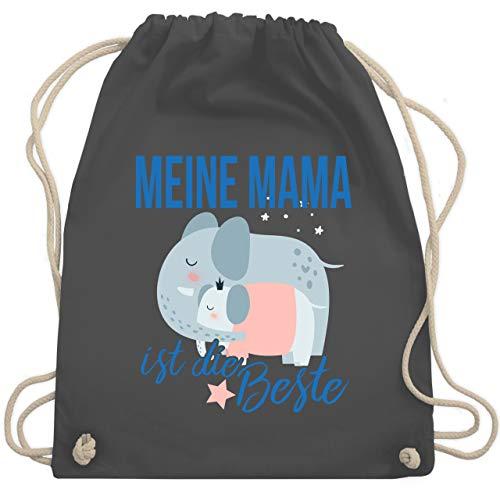 Shirtracer Muttertagsgeschenk Tochter & Sohn Kinder - Meine Mama ist die Beste Elefanten - Unisize - Dunkelgrau - WM110_Stoffbeutel - WM110 - Turnbeutel und Stoffbeutel aus Baumwolle