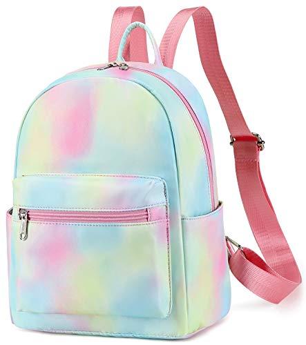 Mini Backpack Girls Cute Small Backpack Purse for Women Teens Kids School Travel Shoulder Purse Bag (Tie Dye Pink Yellow)