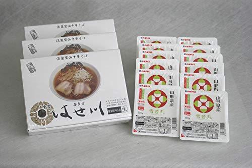 ラ−メンライス 人気有名ラーメンと山形雪若丸 はせ川「喜多方醤油中華そば」12食と雪若丸150g×12食