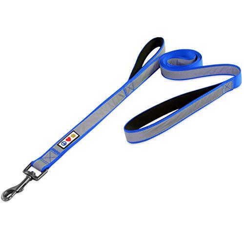 Pawtitas Guinzaglio per cani riflettente imbottito di 1,80 m con due maniglie | Guinzaglio addestramento per cani anti tiro e il controllo del vostro cane | Guinzaglio per cani taglia Grande - Blu